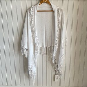 NWT Project White Fringe Cotton Triangle Scarf OS